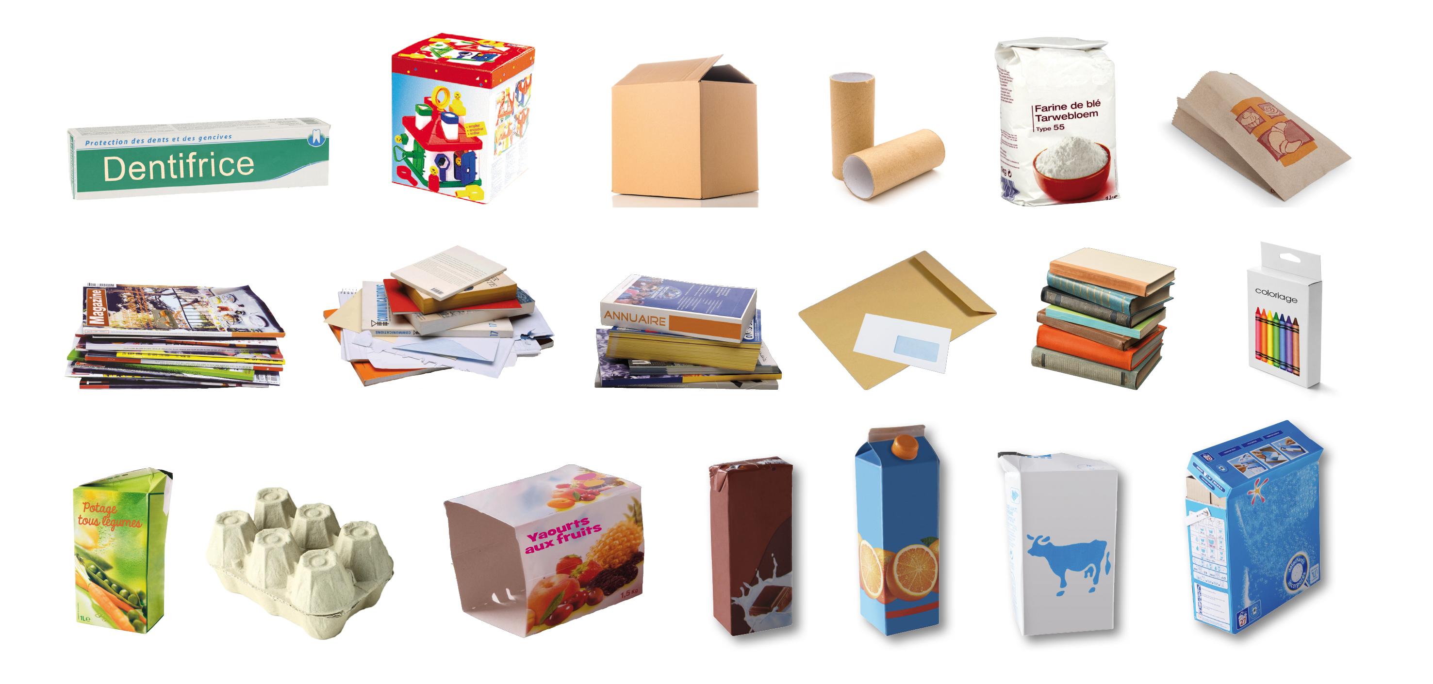 Briques cartons papiers
